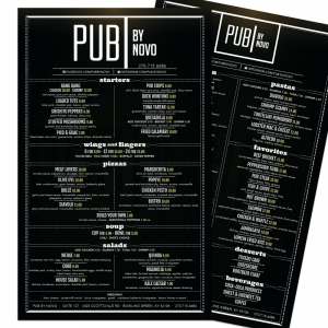 Pub by Novo | Large Format Double Sided Menu