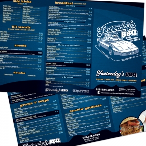 Yesterdays BBQ | Large Format Trifold Menu Layout