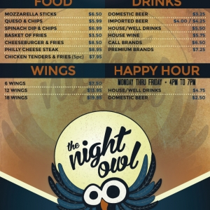 Night Owl | Single Page Menu