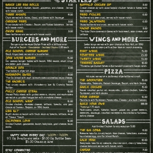 Old School | Large Format Single Page Menu