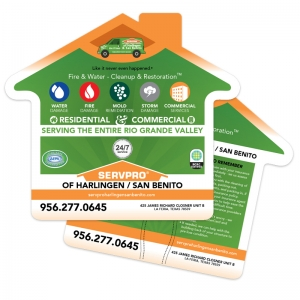 Shaped Hand Fans | House Shaped Hand Fans for ServPro